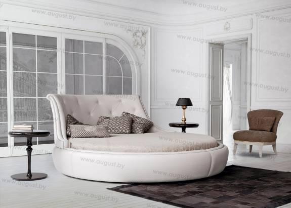 Круглая кровать с мягким изголовьем ARL-0003