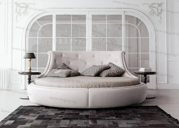 """Круглая кровать с мягким изголовьем ARL-0003 """"August Coliseo"""""""