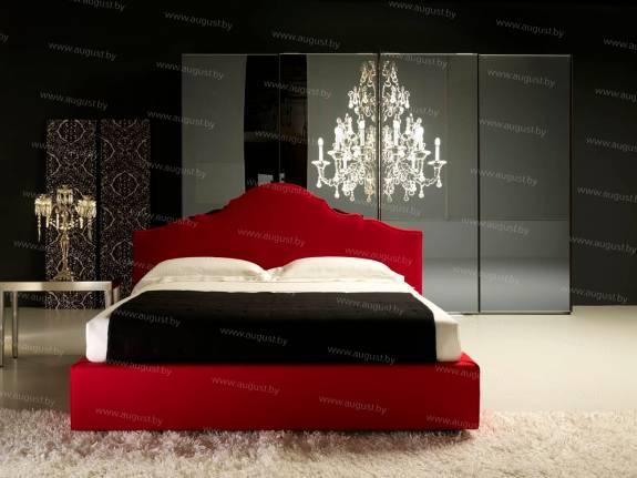 """Кровать с мягким изголовьем AL-0355 """"August Santa Lucia"""" Red Night"""