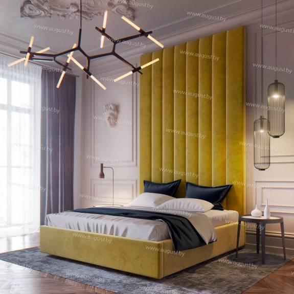 """Кровать с мягкими стеновыми панелями ASW-0001 """"August Sun Rays"""""""