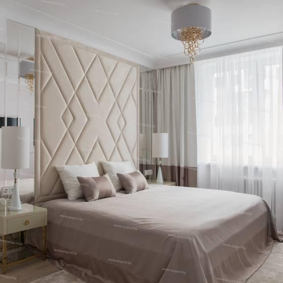 """Мягкие стеновые панели ASW-0002 """"August Ornamento 1"""" в комплекте с кроватью"""