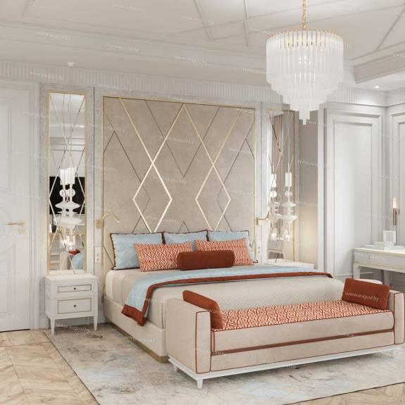 """Мягкие дизайнерские стеновые панели ASW-0005 """"August Ornamento"""" в комплекте с кроватью"""