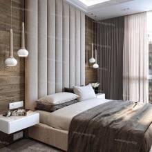 Мягкие стеновые панели ASW-0001 в комплекте с кроватью