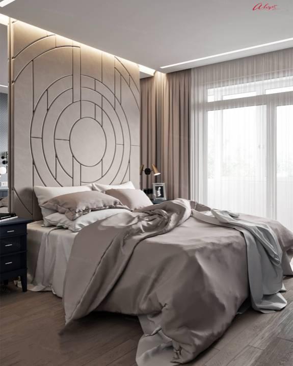 """Кровать с мягкими стеновыми панелями ASW-0011 """"August Geometry"""""""