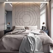 """Кровать с мягкими стеновыми панелями ASW-0011 """"Geometry"""""""