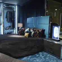 """Кровать с мягким изголовьем AL-0078 """"August Dolce Vita Blue"""""""