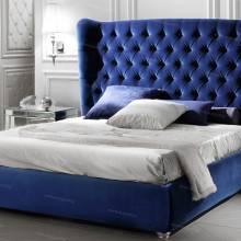 """Кровать с мягким изголовьем AL-0182 """"Mystery Plain"""" Blue"""