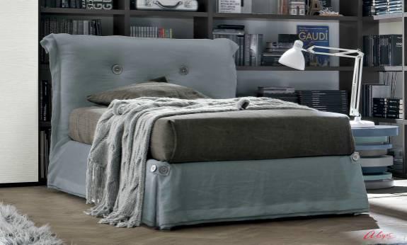 """Подростковая кровать с мягким изголовьем AGL-0001 """"August Milky Way Grey"""""""
