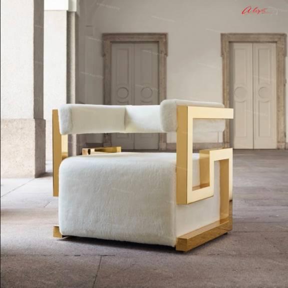 "Дизайнерский стул-кресло ACH-0004 ""August Prado"" Gold Edition"