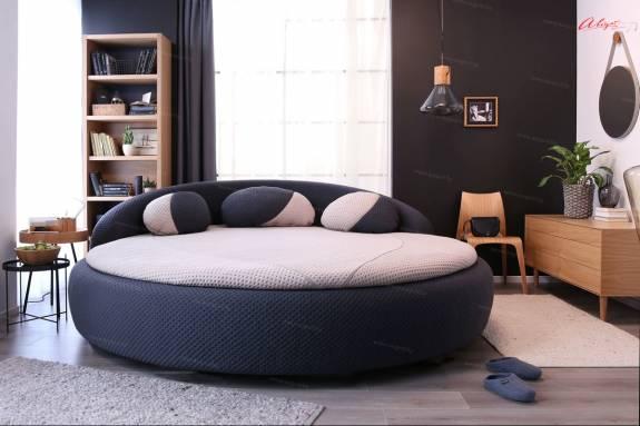 """Круглая кровать с мягким изголовьем """"AUGUST ARL-0002"""""""