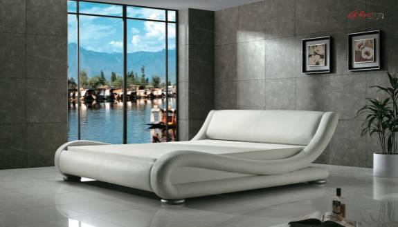 """Кровать с мягким изголовьем AL-0053 """"August Ferrari"""" white"""