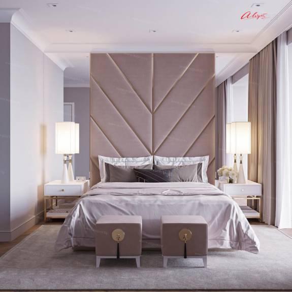 """Кровать с мягкими стеновыми панелями ASW-0008 """"August Wings"""""""