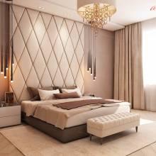 """Кровать с мягкими стеновыми панелями ASW-0007 """"August Diamond"""""""