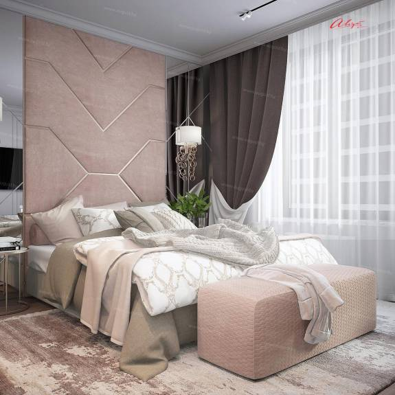 """Кровать с мягкими стеновыми панелями ASW-0009 """"August Ornamento 4"""""""