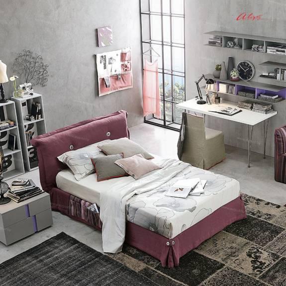 """Подростковая кровать с мягким изголовьем AGL-0001 """"August Milky Way Bordo"""""""