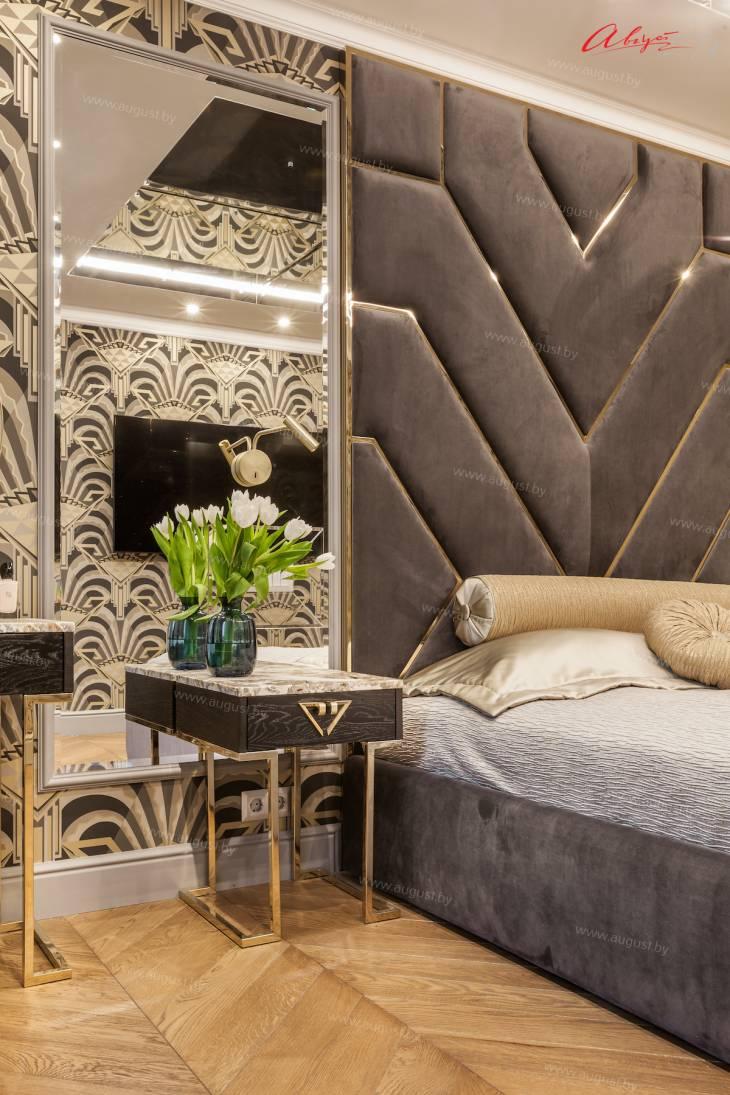 """Шикарная дизайнерская кровать с мягкими стеновыми панелями ASW-0010 """"August Babylon""""_2.jpg"""