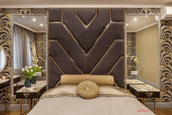 """Шикарная дизайнерская кровать с мягкими стеновыми панелями ASW-0010 """"August Babylon""""_4.jpg"""