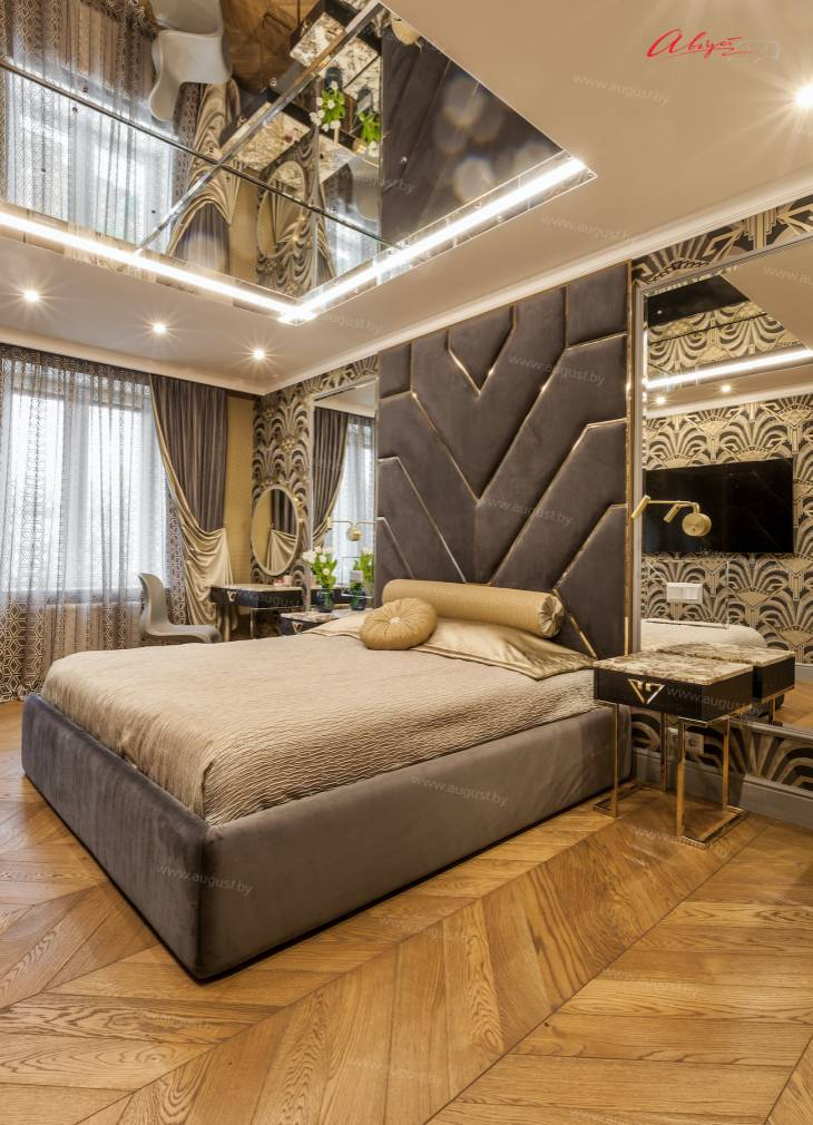 """Шикарная дизайнерская кровать с мягкими стеновыми панелями ASW-0010 """"August Babylon"""".jpg"""