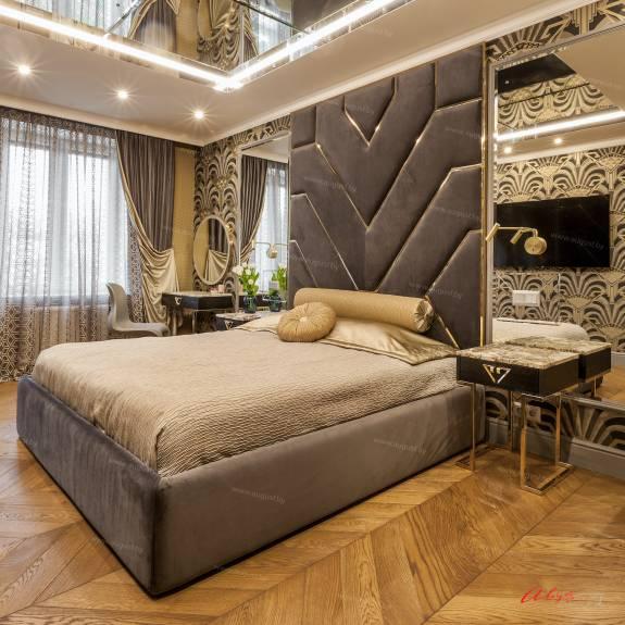 """Кровать с мягкими стеновыми панелями ASW-0010 """"August Babylon"""""""