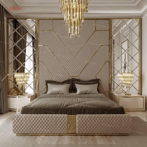 """Кровать с мягкими настенными панелями ASW-0010 """"August Babylon"""" collection"""