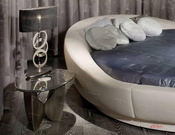 """Круглая дизайнерская кровать ARL-0011 """"August Space X"""" с мягким изголовьем."""